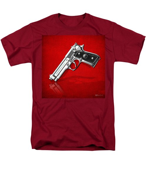 Beretta 92fs Inox Over Red Leather  Men's T-Shirt  (Regular Fit) by Serge Averbukh