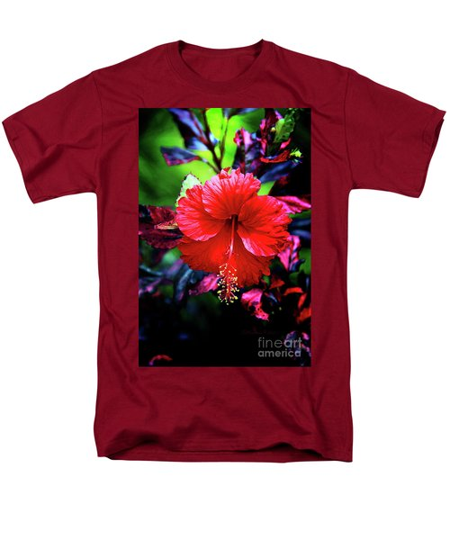 Red Hibiscus 2 Men's T-Shirt  (Regular Fit) by Inspirational Photo Creations Audrey Woods