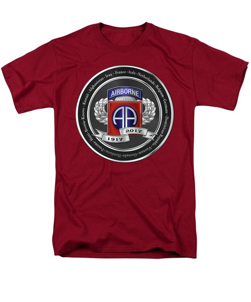 Men's T-Shirt  (Regular Fit) featuring the digital art 82nd Airborne Division 100th Anniversary Medallion Over Red Velvet by Serge Averbukh