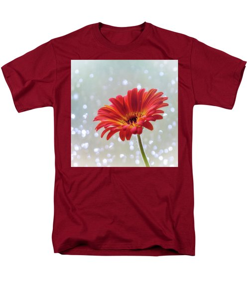 Men's T-Shirt  (Regular Fit) featuring the photograph April Showers Gerbera Daisy Square by Terry DeLuco