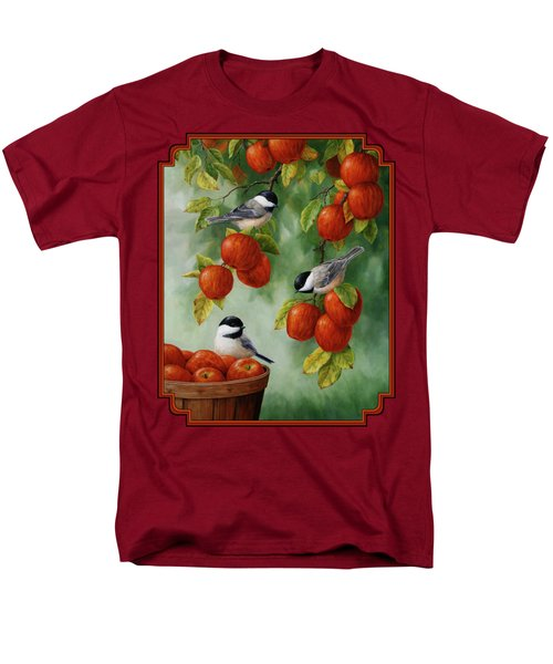 Bird Painting - Apple Harvest Chickadees Men's T-Shirt  (Regular Fit)