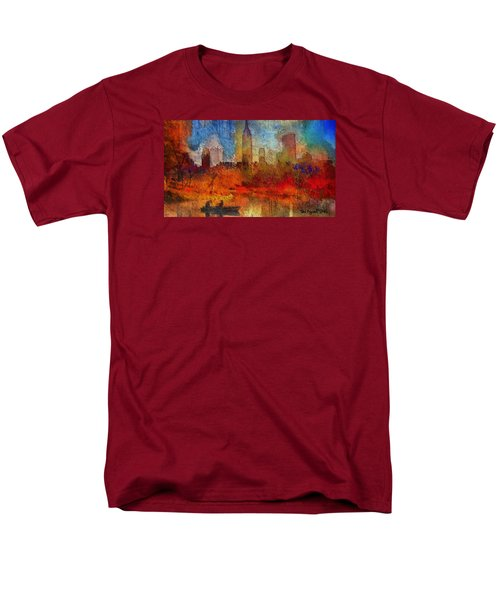 Men's T-Shirt  (Regular Fit) featuring the painting Autumn In New York by Ted Azriel
