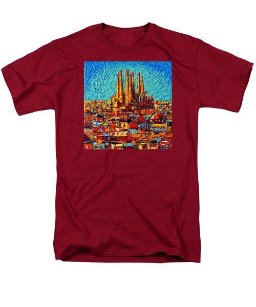 Barcelona Abstract Cityscape - Sagrada Familia Men's T-Shirt  (Regular Fit) by Ana Maria Edulescu