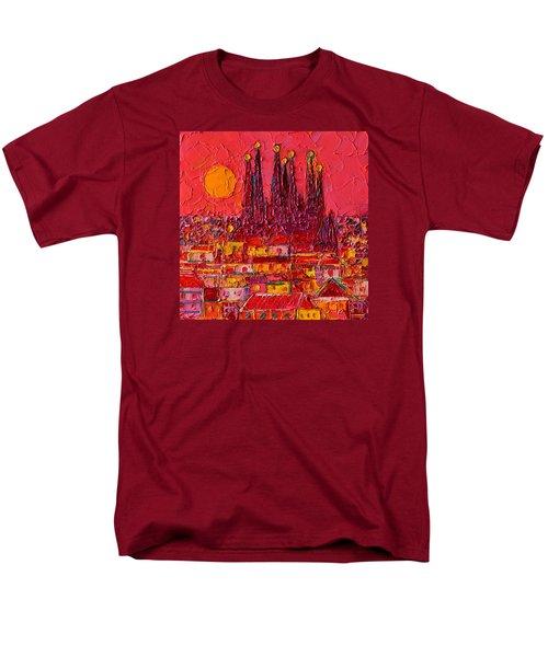 Barcelona Moon Over Sagrada Familia - Palette Knife Oil Painting By Ana Maria Edulescu Men's T-Shirt  (Regular Fit) by Ana Maria Edulescu