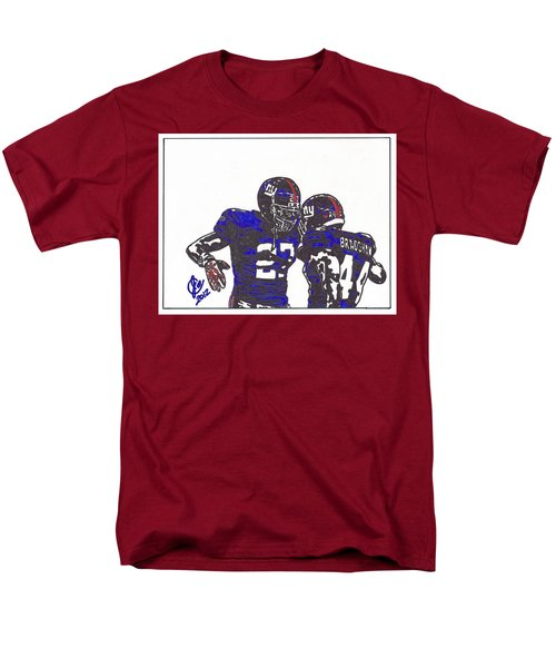 Men's T-Shirt  (Regular Fit) featuring the drawing Brandon Jacobs And Ahmad Bradshaw by Jeremiah Colley