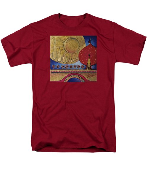 Men's T-Shirt  (Regular Fit) featuring the painting Bridge Between Sunrise And Moonrise by Anna Ewa Miarczynska