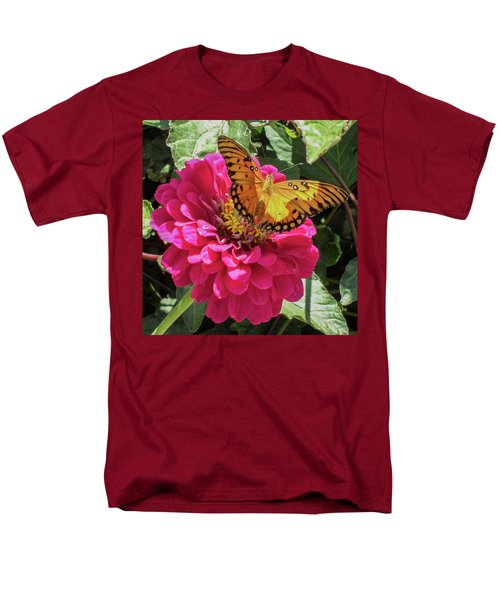 Butterfly On Pink Flower Men's T-Shirt  (Regular Fit) by Mark Barclay