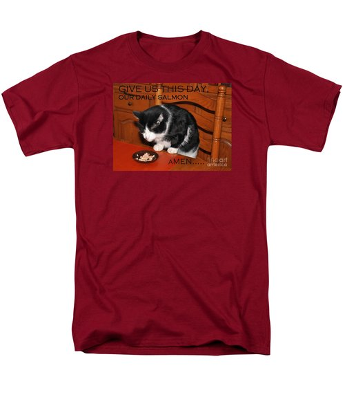 Cat's Prayer Revisited By Teddy The Ninja Cat Men's T-Shirt  (Regular Fit) by Reb Frost