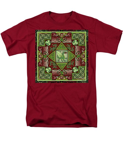 Men's T-Shirt  (Regular Fit) featuring the mixed media Celtic Dragon Labyrinth by Kristen Fox