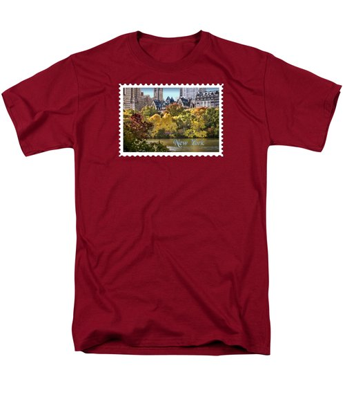 Central Park Lake In Fall Text New York Men's T-Shirt  (Regular Fit) by Elaine Plesser