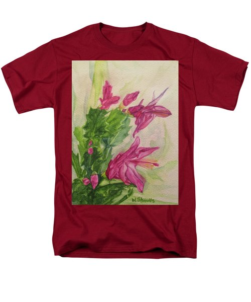 Christmas Cactus Men's T-Shirt  (Regular Fit) by Wendy Shoults