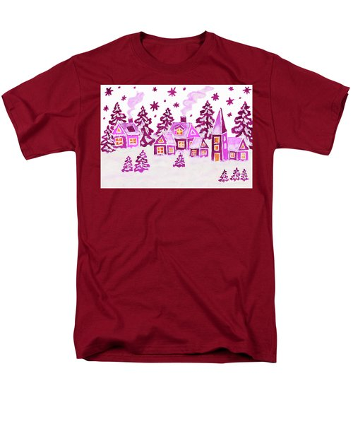 Christmas Picture In Pink Colours Men's T-Shirt  (Regular Fit) by Irina Afonskaya