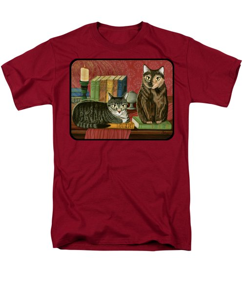 Men's T-Shirt  (Regular Fit) featuring the painting Classic Literary Cats by Carrie Hawks