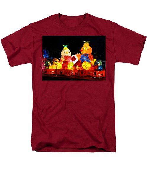 Men's T-Shirt  (Regular Fit) featuring the photograph Colorful Chinese Lanterns In The Shape Of Chickens by Yali Shi