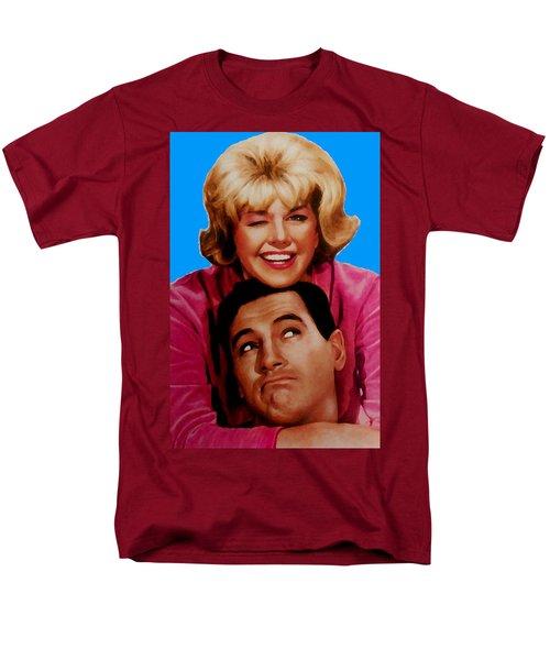 Men's T-Shirt  (Regular Fit) featuring the mixed media Doris Day Rock Hudson  by Paul Van Scott