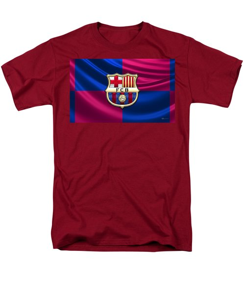 F. C. Barcelona - 3d Badge Over Flag Men's T-Shirt  (Regular Fit) by Serge Averbukh