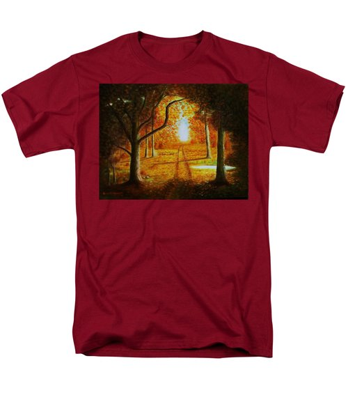 Men's T-Shirt  (Regular Fit) featuring the painting Fall In The Woods by Gene Gregory