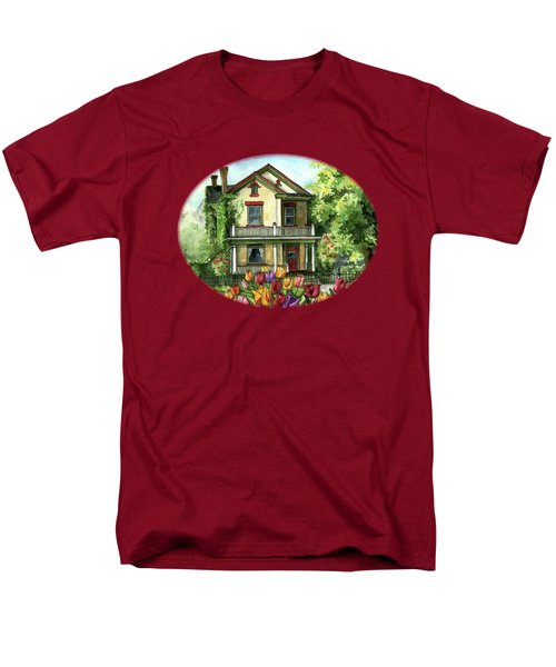 Farmhouse With Spring Tulips Men's T-Shirt  (Regular Fit) by Shelley Wallace Ylst