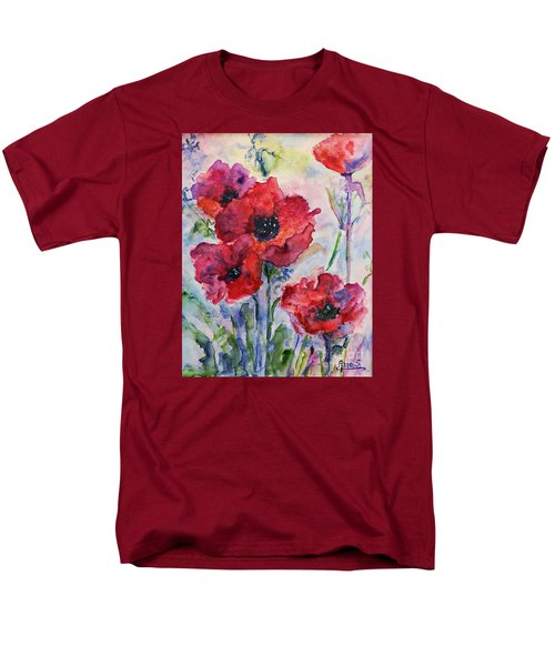 Field Of Red Poppies Watercolor Men's T-Shirt  (Regular Fit) by AmaS Art
