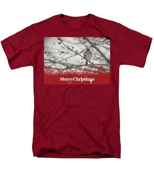 Men's T-Shirt  (Regular Fit) featuring the mixed media Finch Christmas by Trish Tritz