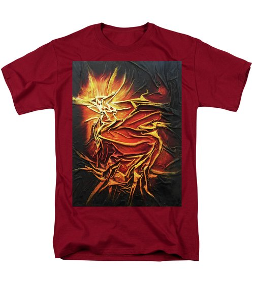Men's T-Shirt  (Regular Fit) featuring the mixed media Fire by Angela Stout