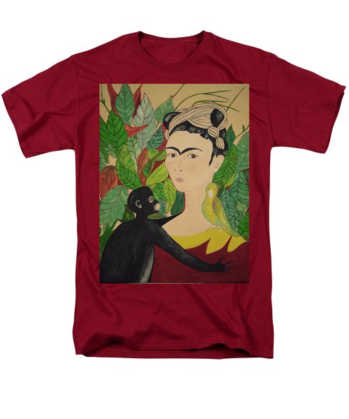 Frida With Monkey And Bird Men's T-Shirt  (Regular Fit) by Stephanie Moore