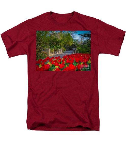 Garden Tulips Along The Trail Men's T-Shirt  (Regular Fit) by John Roberts