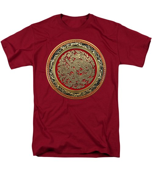 Golden Chinese Dragon On Red Velvet Men's T-Shirt  (Regular Fit)