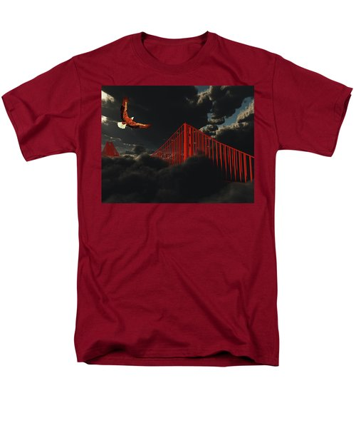 Golden Gate Bridge In Heavy Fog Clouds With Eagle Men's T-Shirt  (Regular Fit) by Bruce Rolff