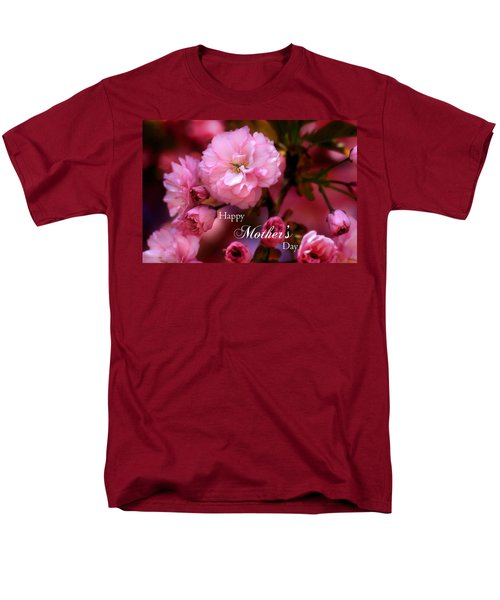 Men's T-Shirt  (Regular Fit) featuring the photograph Happy Mothers Day Spring Pink Cherry Blossoms by Shelley Neff