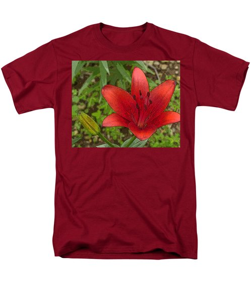 Men's T-Shirt  (Regular Fit) featuring the digital art Hazelle's Red Lily by Jana Russon