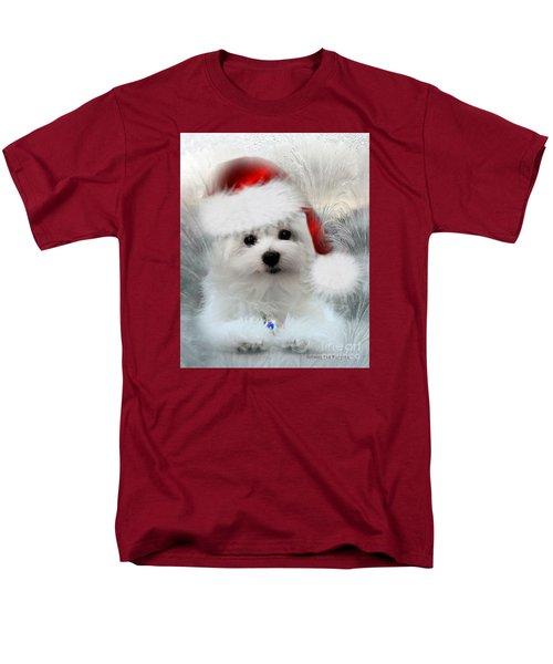 Hermes The Maltese At Christmas Men's T-Shirt  (Regular Fit) by Morag Bates