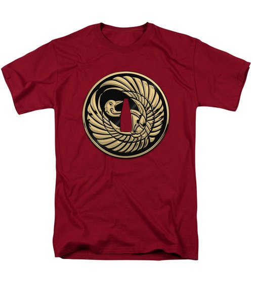Japanese Katana Tsuba - Golden Crane On Black Steel Over Red Velvet Men's T-Shirt  (Regular Fit)