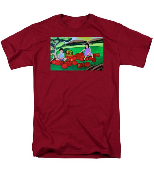 Men's T-Shirt  (Regular Fit) featuring the painting Kids Playing And Picking Apples by Lorna Maza