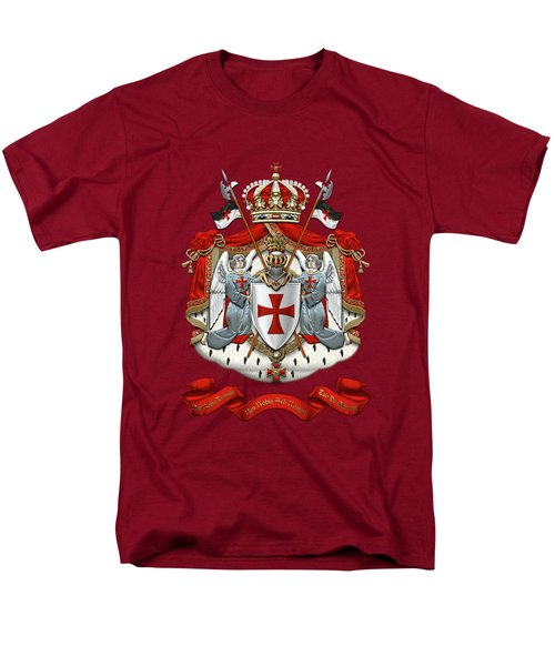 Knights Templar - Coat Of Arms Over Red Velvet Men's T-Shirt  (Regular Fit) by Serge Averbukh