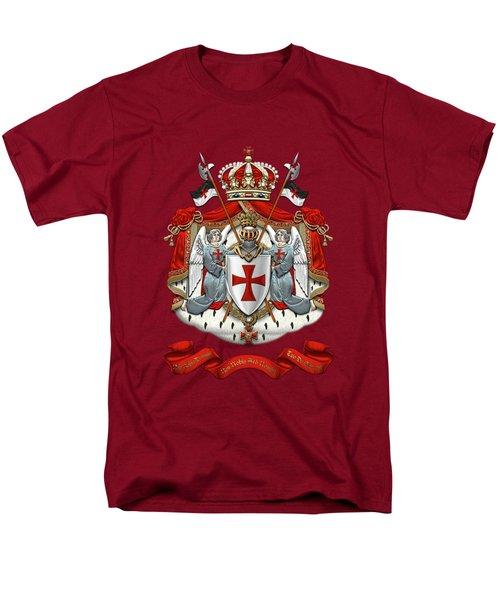 Knights Templar - Coat Of Arms Over Red Velvet Men's T-Shirt  (Regular Fit)
