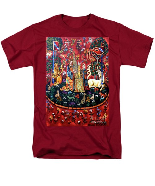 Men's T-Shirt  (Regular Fit) featuring the painting Lady And The Unicorn Sound by Genevieve Esson