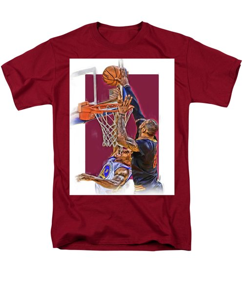 Lebron James Cleveland Cavaliers Oil Art Men's T-Shirt  (Regular Fit) by Joe Hamilton
