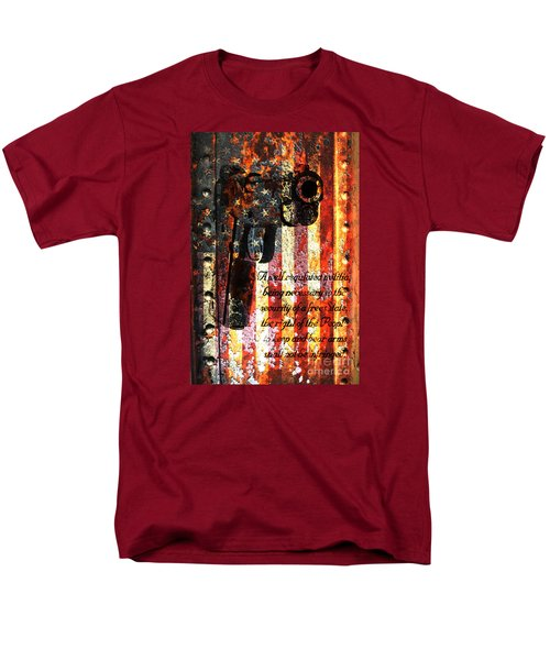 M1911 Pistol And Second Amendment On Rusted American Flag Men's T-Shirt  (Regular Fit) by M L C