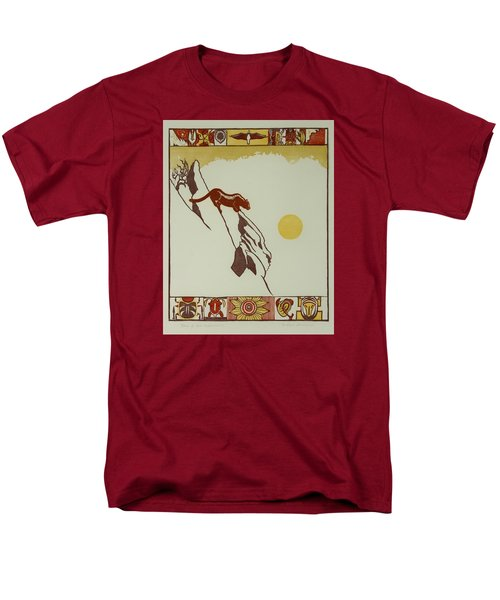 Men's T-Shirt  (Regular Fit) featuring the drawing Moon Of Red Chokecherries by Dawn Senior-Trask