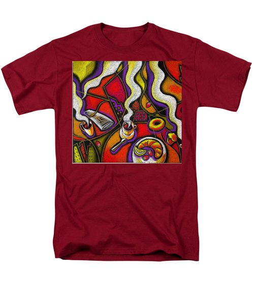 Men's T-Shirt  (Regular Fit) featuring the painting Morning Coffee Cup And Muffin  by Leon Zernitsky