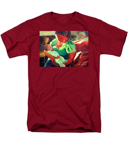 Men's T-Shirt  (Regular Fit) featuring the painting Mother And Child In Red2 by Kathy Braud