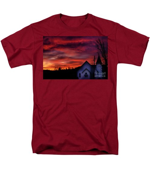 Men's T-Shirt  (Regular Fit) featuring the photograph Mountain Sunrise And Church by Thomas R Fletcher