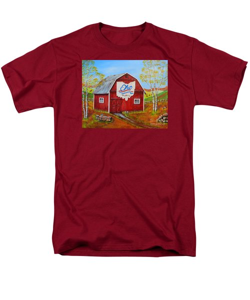 Men's T-Shirt  (Regular Fit) featuring the painting Ohio Bicentennial Barns 2 by Melvin Turner