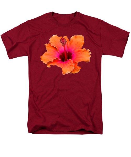 Orange And Pink Hibiscus Men's T-Shirt  (Regular Fit) by Pamela Walton
