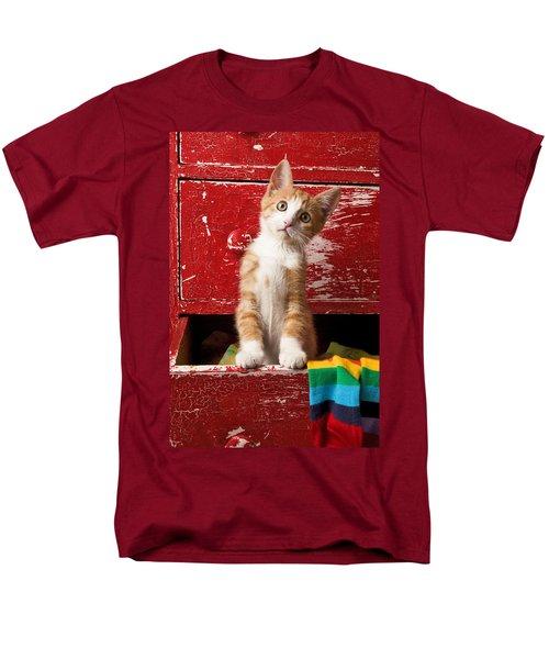 Orange Tabby Kitten In Red Drawer  Men's T-Shirt  (Regular Fit) by Garry Gay