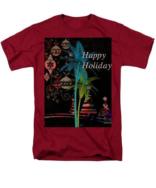 Men's T-Shirt  (Regular Fit) featuring the digital art Palm Trees Happy Holidays by Megan Dirsa-DuBois