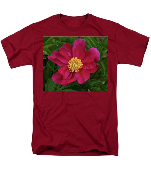 Men's T-Shirt  (Regular Fit) featuring the photograph Peony In Rain by Sandy Keeton