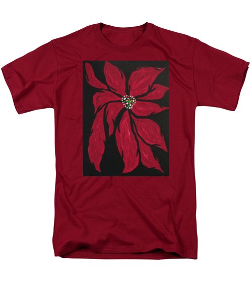 Men's T-Shirt  (Regular Fit) featuring the painting Poinsettia - The Season by Sharyn Winters