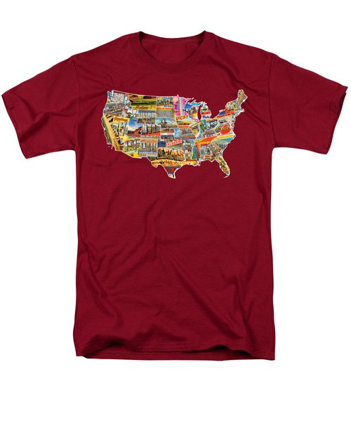 Postcards Of The United States Vintage Usa Lower 48 Map Choose Your Own Background Men's T-Shirt  (Regular Fit) by Design Turnpike